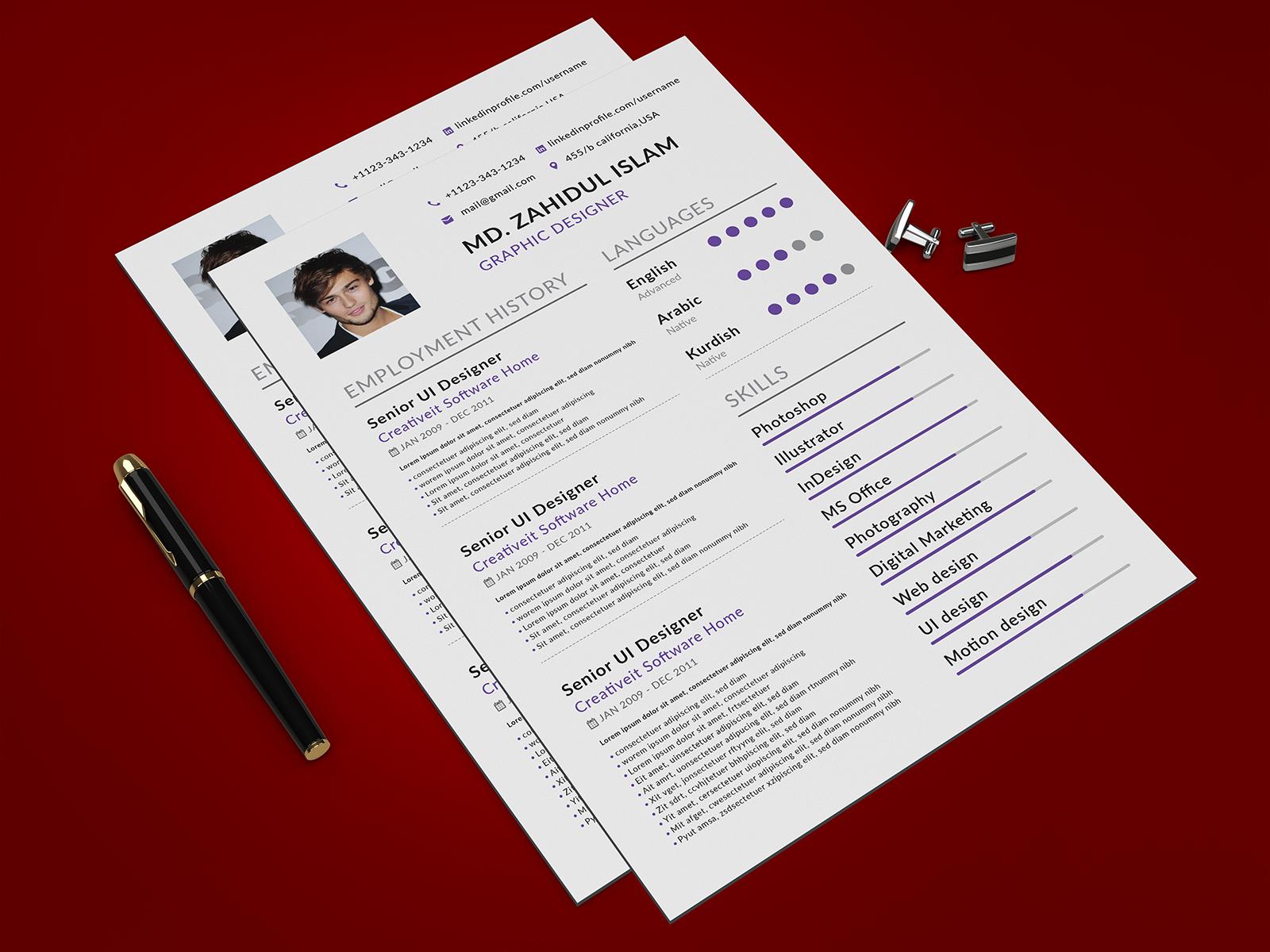 Professional Resume Cv Design By Md Zahidul Islam On Dribbble