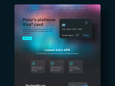 Finance - Credit Card Website banking bank card website uidesign ui web design credit card gradient
