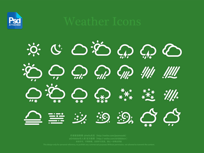 Weather Icons PSD weather icon app ui psd