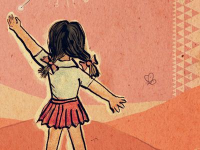 Progress... illustration moire vintage hand-drawn child girl halftone