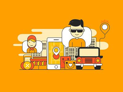Online Delivery webdesign icon illustration minimal flat