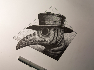 Plague doctor dotwork illustration artist artwork pen pen and ink inking ink dotwork