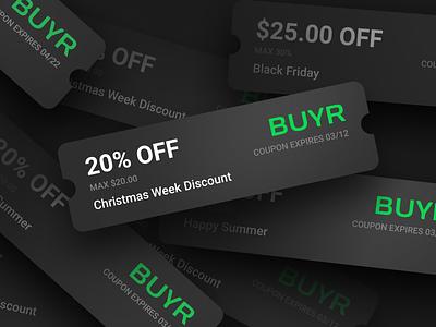 Coupon design for buyr.com dark buyr buyr.com discount promo code coupons promo coupon code coupon