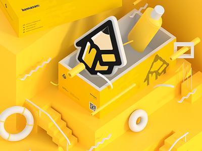 Kemazan kemazan packaging branding 3d blender illustration art concept