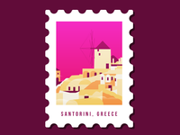 Stamp for Santorini, Greece