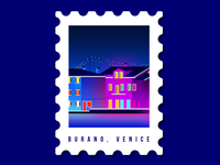 Stamp for Burano, Venice in Neon!