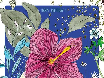 Happy Birthday fleuri illustration