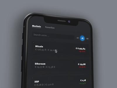 Bitcoin & Krypto Tracker rotato invision invision studio animation ui ux design money soft ui neomorphism dark mode mobile bitcoin krypto app