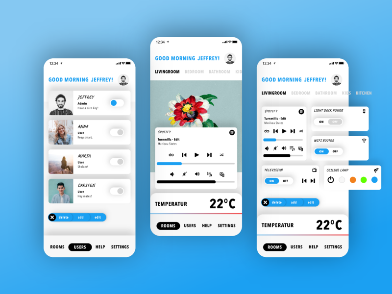 Smart Home App smart home smarthome mobile ux ui soft ui rotato neomorphism invision studio invision light mode app animation