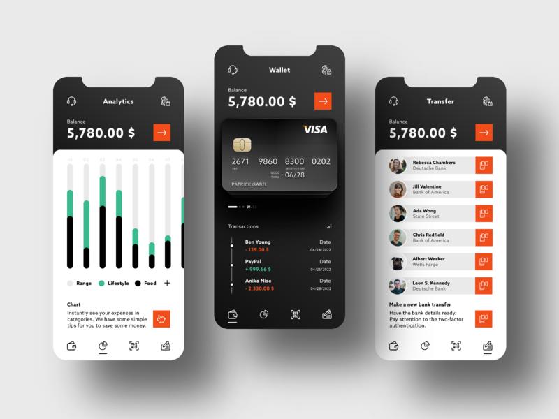 Banking app credit card analytics transactions chart flat design online banking money transfer money banking invision studio ux ui mobile app