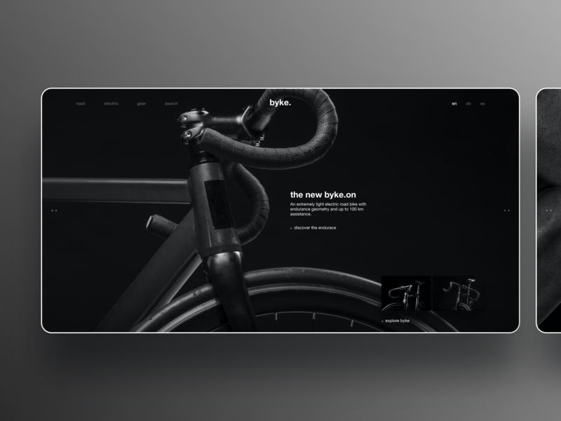 E-Bike branding website e-bike corporate website corporate design electric low key dark theme dark mode dark ui website branding invision studio ux ui bike