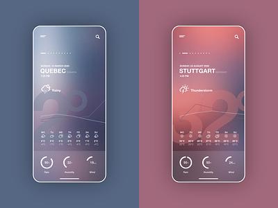 Weather app snowy thunderstorm sunny rainy interfacedesign helsinki moscow quebec stuttgart weather app app weather mobile invision studio ux ui