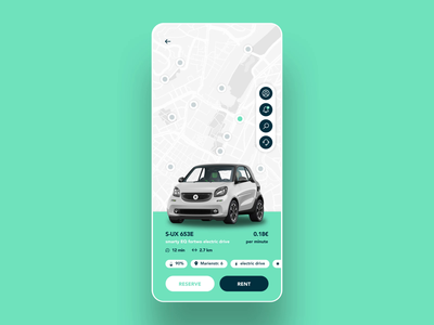Car rental app animation prototype animation prototype high fidelity ux user interface design ui smart rent mobile map figma carsharing car rental app car rental car booking car app car2go car after effects