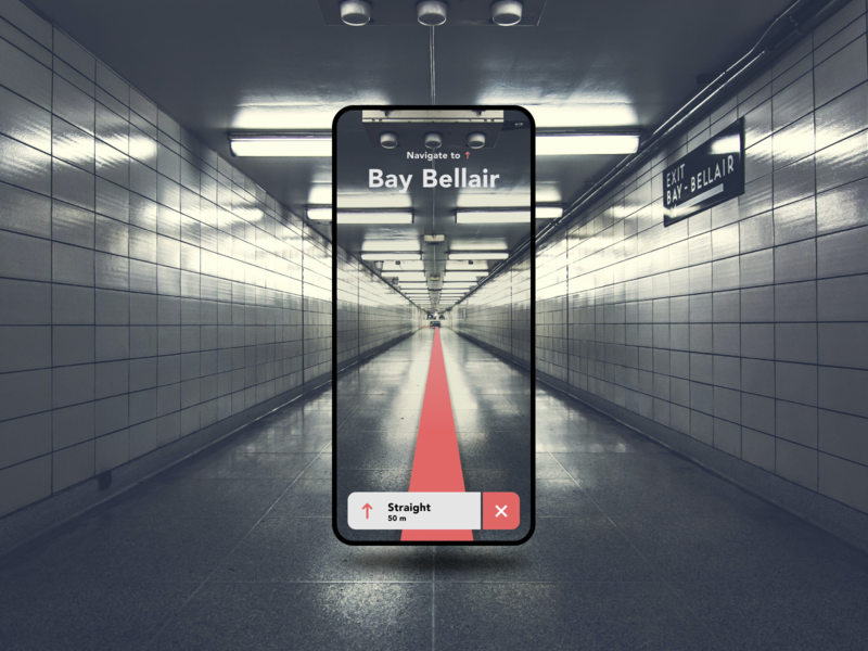 AR navigation app mixed reality concept 3d dark ar augmented reality maps tunnel minimal figma app mobile ux ui