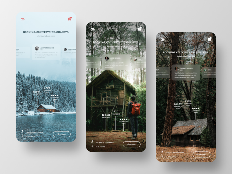 Booking app discover trip traveling chalet figma mobile ux ui countryside nature travel app chalets booking