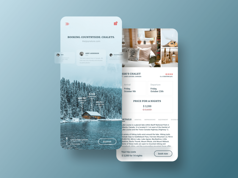 Booking app user experience design ux ui trips traveling travel nature mobile figma discover countryside chalets chalet booking app