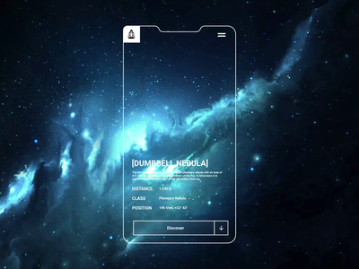 Space travel app prototyp ux ui mobile after effects animation minimal figma universe space dark frosted glass glassmorphism app