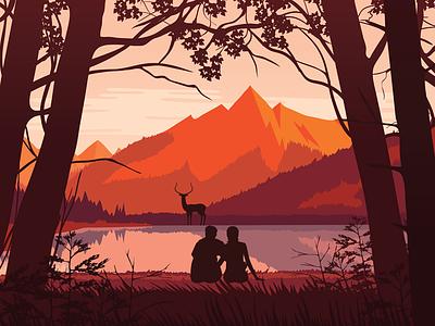 Honeymoon love travel illustration peace nature lakes deer mountains landscape udaipur couple honeymoon