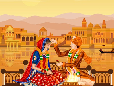 Indian Wedding illustration graphics india udaipur love groom bride couple indianwedding savethedate