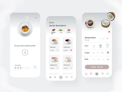 Coffee Shop Mobile App app design coffee app caffeine card clean cafe app design ux design ui design ui  ux ux ui mobile app mobile ui mobile food drink coffee shop coffee