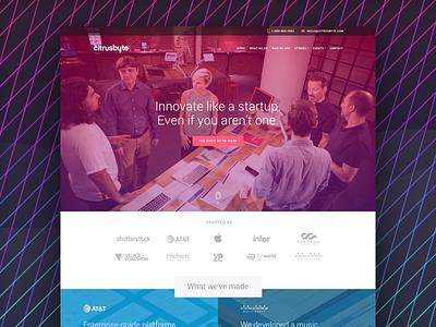 New Citrusbyte Website 2016 redesign culture design engineering startup team pink violet homepage identity website