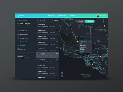 Prism Activity app dark graph iot dashboard devices things ui ux web map