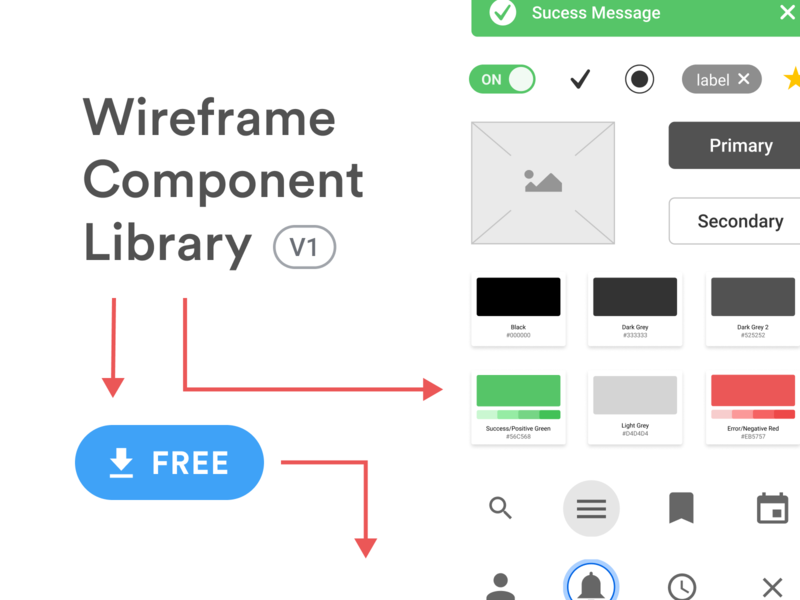 Wireframe Component Library V1 tool team library user flows components template styleguide flow diagram flowchart freebie ui kits library design system wireflows wireframe kit figma component library ux ui