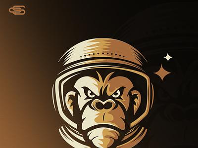Monkey astronaut logo scartdesign design logo astronaut monkey logo monkey