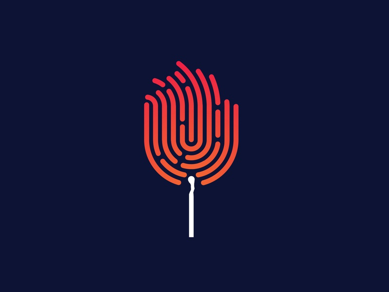 Fingerprint Match match matchstick fingerprint fire app ux ui illustration icon illustrator minimal vector design