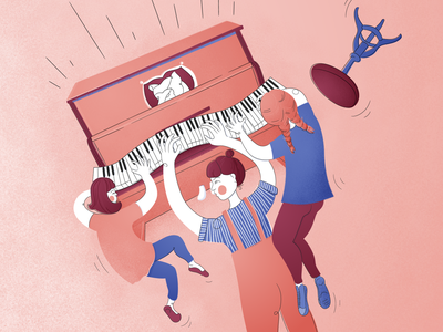 Cacophonic Trio piano play pianist piano vector illustrator illustration drawing digital illustration digital drawing