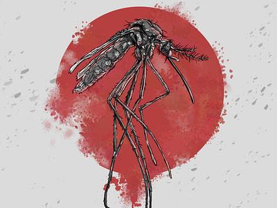 """комар  (Арт-проект """"насекомые"""") design digitalart poster comics art illustration"""