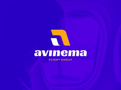 Avinema ui branding modern logo illustration icon design colorful app modernlogo monogram aletter plane travel flight fly aviation