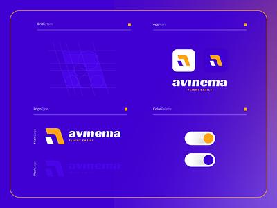 Avinema | Logo Composition ui modern logo illustration icon logotype monogram design colorful app order flight travel software