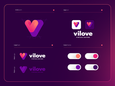 Vilove - Virtual Dating | Logo Composition ui branding logo modern illustration app icon design colorful apps vletter vlogo love