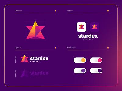 Stardex Academy | Logo Composition ux ui branding logo modern illustration icon design colorful app course audition academy singer star