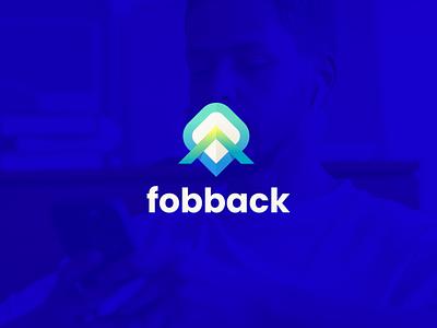 Fobback branding logo illustration mobile software icon design colorful app uiux web modern simple rocket symbol f