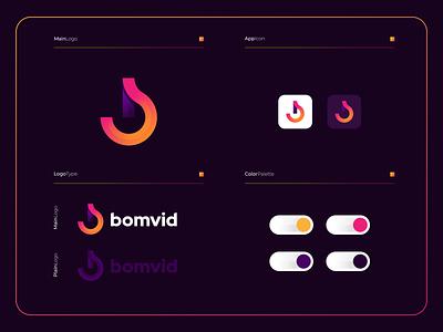 Bomvid | Logo Composition branding ux ui modern mobile apps software bmonogram logo illustration icon design colorful app brand modernlogo blogo
