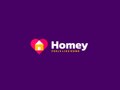 Homey - Feels Like Home vector branding ui logo combiantionlogo illustration icon design colorful app hotel travel holiday mobile application modern journey vacation house home