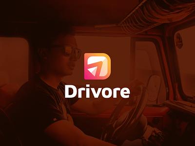 Drivore software vector website modern logo illustration icon design colorful app transportations applications dlogo dletter driver drive