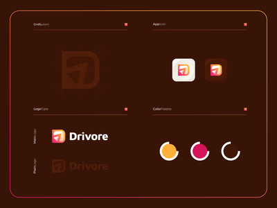 Drivore - Logo Composition logogram logotype modern illustration design colorful app brandingmobile logo icon symbol mark applications modernlogo dlogo