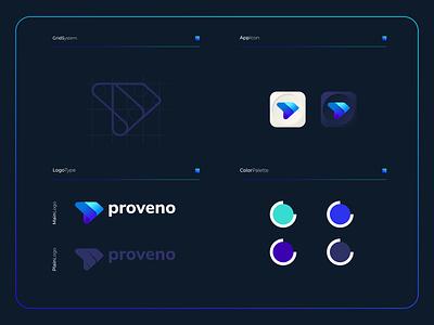 Proveno - Logo Composition branding vector logo logomark monogram logotype icon design colorful app colorfull modern mobile applications apps modernlogo plogo