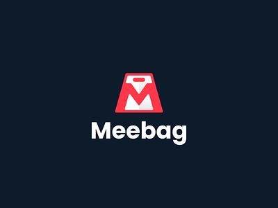 Meebag modern branding logogram logomark mark logo icon design colorful app applications onlineshop shop shopping paperbag mlogo