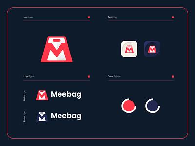 Meebag - Logo Composition mobile logotype logomark modern logo icon design colorful app apps applications mletter mlogo online bag