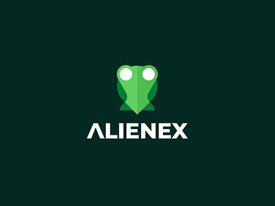 Alienex branding modern logo logodesign logotype logomark icon design colorful app apps application pin spot alien