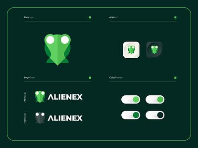 Alienex - Logo Composition vector illustration logo design colorful app modern symbol logotype mark icon logomark logospot pin alien