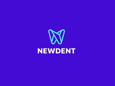 NewDent mark mobile vector branding illustration modern logo nlogo icon design colorful app orthodentic dental dent