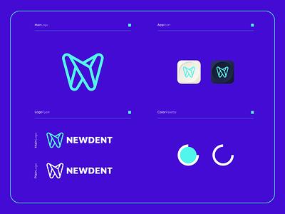 NewDent - Logo Composition branding illustration modern logo design colorful app clean simple combination logotype logogram healthy icon mobile dentist dental new newyork