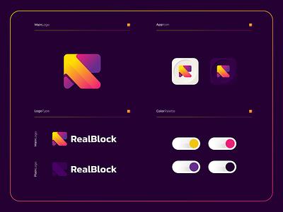 RealBlock - Logo Composition branding logo design colorful app mobile apps applications sofware icon colorfull modern logogram logotype monogram rlogo