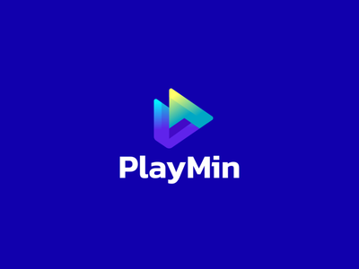PlayMin branding logomark logotype mark applications software mobile illustration modern logo playbutton icon design colorful app apps video music playing