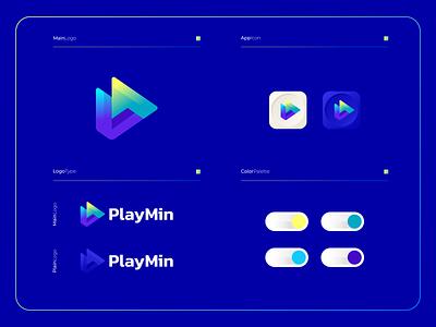 PlayMin - Logo Composition branding applications apps software mobile logomark logotype mark illustration modern logo icon design colorful app playbutton play